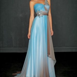 allure blue/brown ombre prom dress